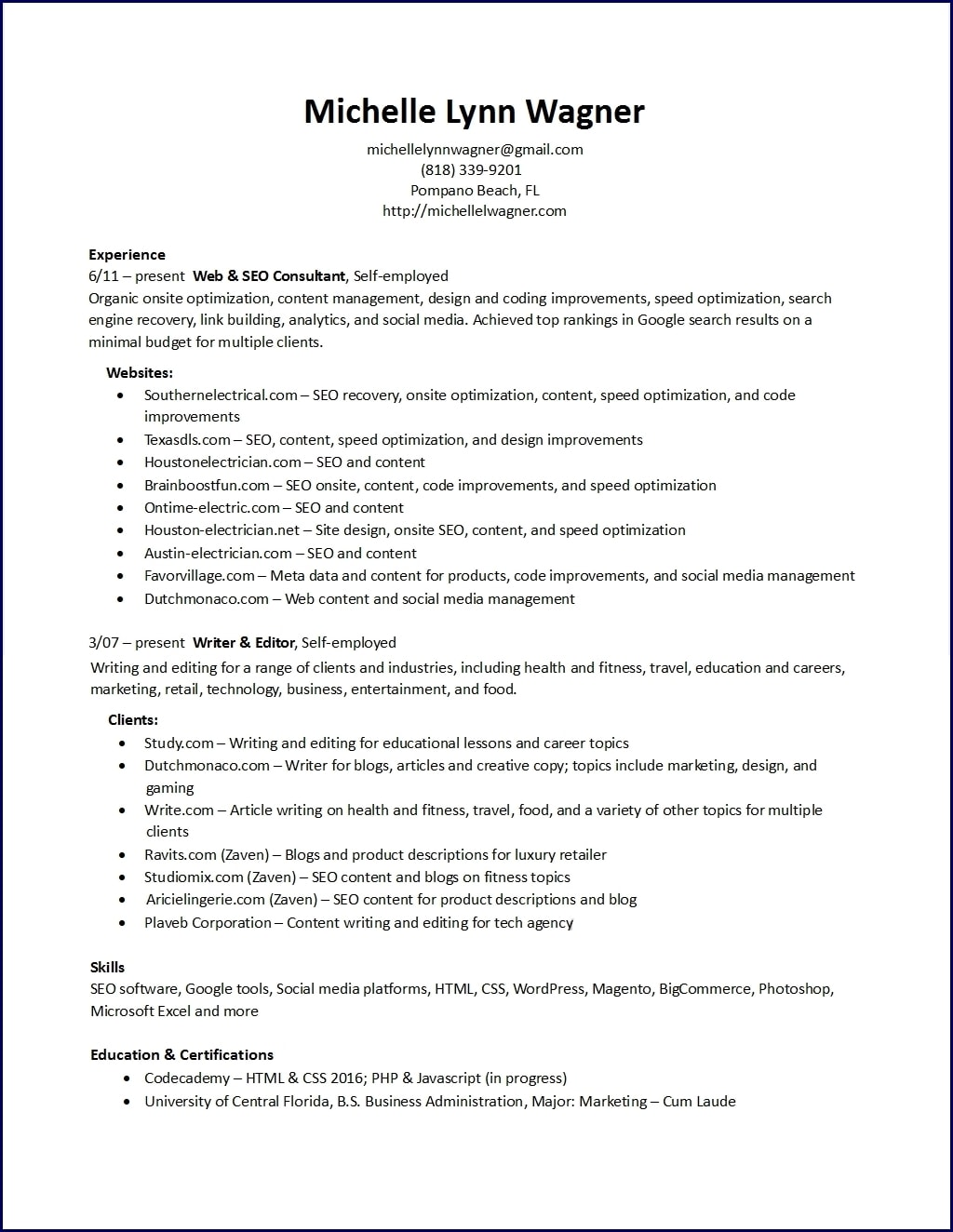 Resume – Michelle L. Wagner, Marketing Specialist